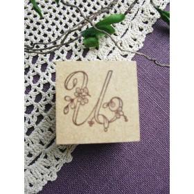 【SALE】イニシャルスタンプ「U」3cm角アンティーク復刻刺繍図案
