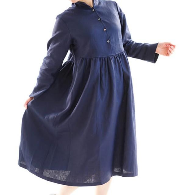 【wafu】中厚 リネンワンピース ショールカラー 前開き ギャザー ドレス ミモレ丈 / ネイビー a019c-neb2