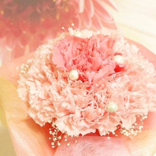 【特別サービス品・限定2個】ミルクカーネーションの花束(プリザーブドフラワー)
