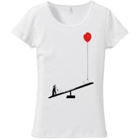 [レディースTシャツ] ペンギンと風船とシーソー