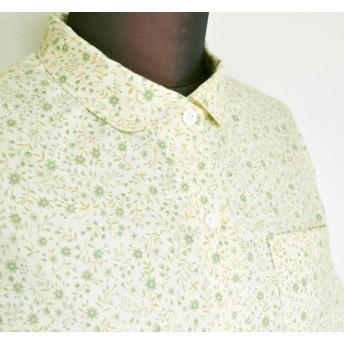 グリーン花柄半袖シャツ