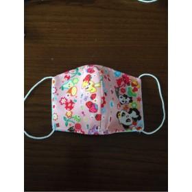 レトロ柄ピンク×水色ドット 立体マスク