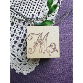 【SALE】イニシャルスタンプ「M」3cm角アンティーク復刻刺繍図案