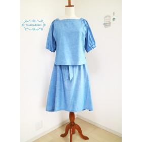 【上下セット】ふんわり袖プルオーバー&後ろ長めウエストリボン付きスカート