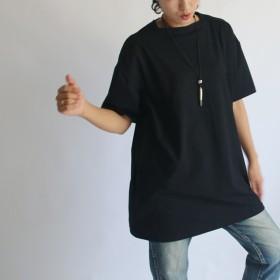 ●11/18まで冬支度PRICE●78cm丈 度詰 天竺コットン100% Tシャツ・カットソー 美しい首元 スクエア ネック チュニック G52D