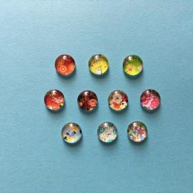 【選べる】お花のガラスカボション(10mm/12種類/アソート/10個)