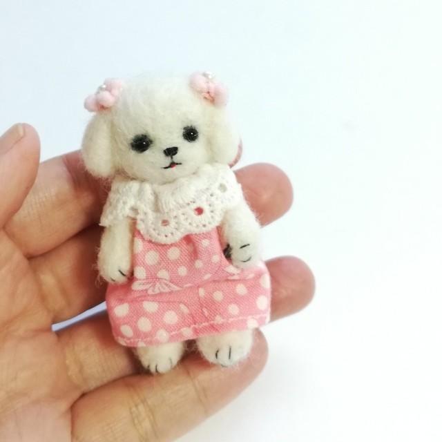 羊毛フェルト犬人形・マルチーズ・テディベア風・ドールハウス・doll