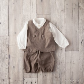 コットンリネン ラウンドベストスーツ アッシュブラウン(80/90/100)【受注製作】|定番