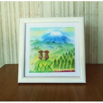 〇原画【富士山と二匹の犬】 パステルアート