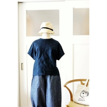 サークル刺繍半袖プルオーバーシャツ(navy)