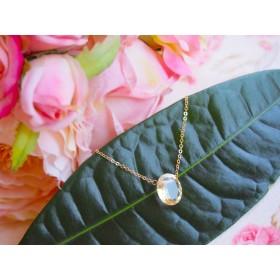 宝石質シトリンの丸型一粒ネックレス