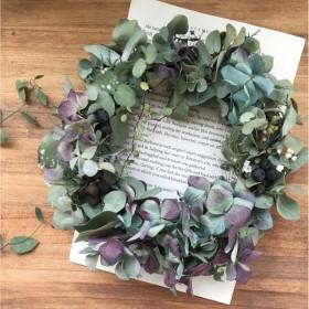 グリーンと秋色紫陽花のドライフラワーリース