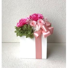 母の日カーネーションアレンジ♪母の日ピンク桃色カーネーションプリザーブドフラワー花フラワー結婚式誕生日プリザ薔薇プレゼント誕生日バラギフト花器サプライズ結婚祝いリボン