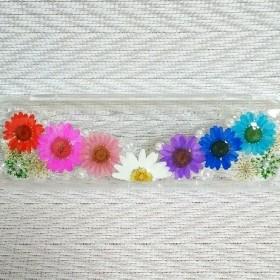 カラフル押し花のペンケース