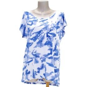 ムラ染めクルーネックドルマンTシャツ<アイランドブルー>