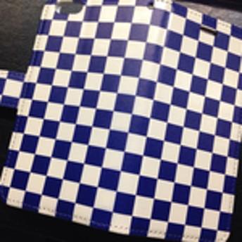新品送料無料 スマートフォン用手帳型マルチケース チェッカーフラッグ 市松模様 青