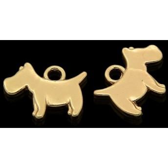 NO,289【4個】小さなわんこゴールドチャーム 犬