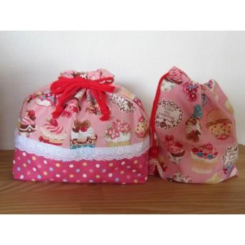入園準備☆カップケーキ柄、お弁当袋とコップ袋