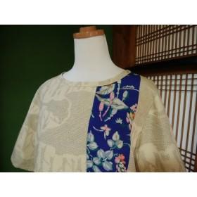 着物リメイク ふたつの紬のプルオーバー