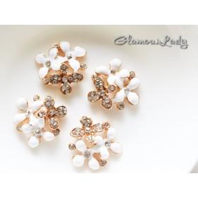 4個セット 白い3つ4弁花の デコレーションパーツ2320mm