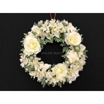 リース*バラと小花のホワイトリース・直径約19㎝
