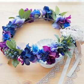 花冠 青~紫ミックス ベリー パンジー アジサイ 矢車草 花かんむり 結婚式☆ウエディング☆ブライダル
