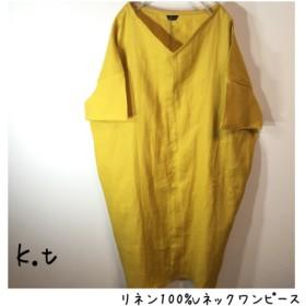 リネン100% Vネック半袖ワンピース 黄色