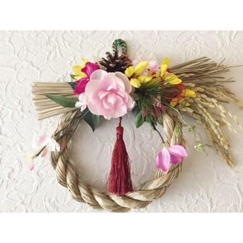 お正月 ピンクの八重椿の玄関飾り