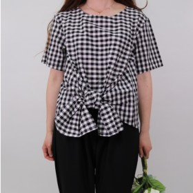 【FRONT KNOT TOP】color: gingham check