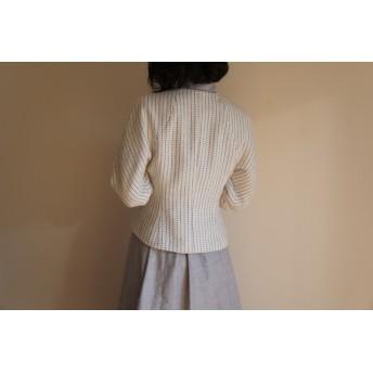 ツボミ膨らむお袖のジャケット Joe ◆ストライプコットン1点物◆
