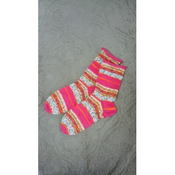 オパールの手編み靴下m0025