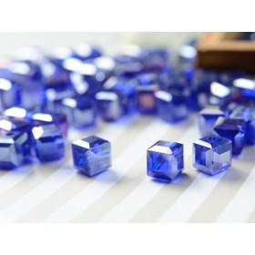アクリル製 スクエア型ビーズ ネイビー ダークブルー 10粒 ネックレス ブレスレット ピアス アクセサリーパーツ