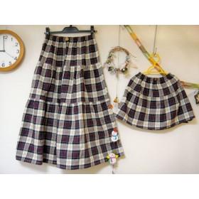 親子お揃い♪チェックのスカート大人M&100サイズ