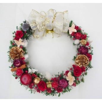 真紅のクリスマスリース8(プリザーブド&ドライフラワー)