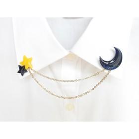 月と星の襟ブローチ