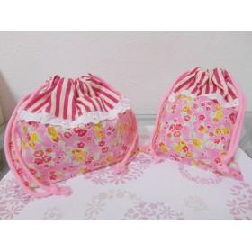 お弁当袋&コップ袋 かわいいピンクの花柄 ストライプ A