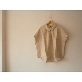 ★en-enフランスリネン・襟付きプルオーバー・綺麗な織り