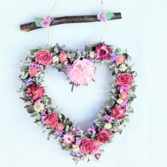 紫陽花のハートブランコの壁掛け