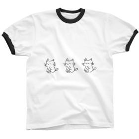 リンガーTシャツ *にゃんこ×3* ブラック