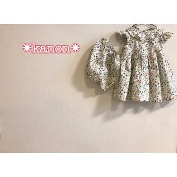 ★ベビーワンピース&かぼちゃパンツ80~90花柄 いちご【送料無料】