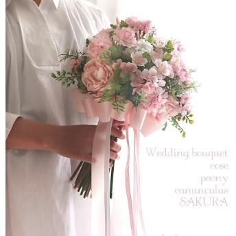 芍薬と桜のクラッチブーケ ブートニアセット(和装の方にはヘッドドレスセットになります)
