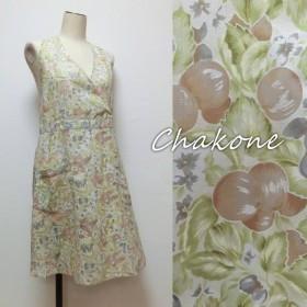 【エプロン大人】可愛いエプロン・ワンピース(ドレス) 透け感ある花柄(M)