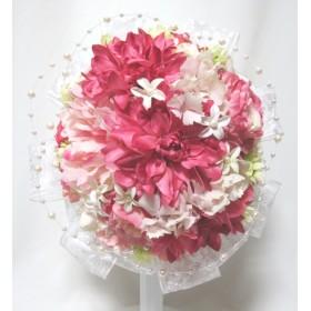 ダリアとリボンのラウンドブーケ。高品質な造花使用。ウェディングやインテリアに