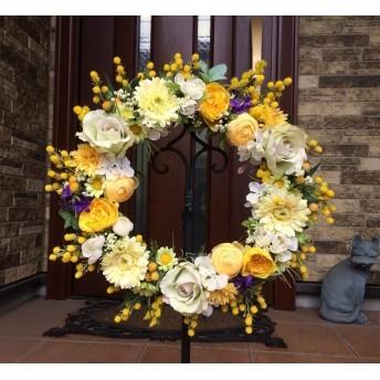 No. wreath-14779/★ギフト/花/玄関リース★/アーティフィシャルフラワー造花/ミモザとバラの春リース(1)/42cm
