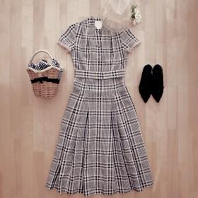 ピクニックのドレス(リネン先染めチェック)