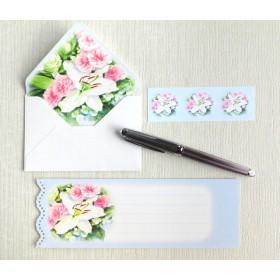 バラとカサブランカのミニ封筒&メッセージカード(内模様)