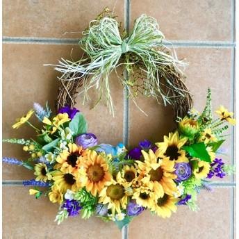 No. wreath-15042/★ヒマワリのリース(9)ひまわり/フラワー・バスケット型 42x42cm・アートフラワー/造花リース