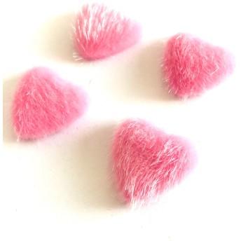 「#1032」 ハート ファー カボション (ピンク) ︎4個セット ハート ファー カボション