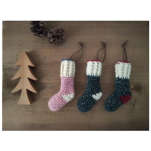 靴下 クリスマスオーナメント 北欧 緑・ピンク