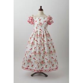 赤い小花のラッフル袖ドレス